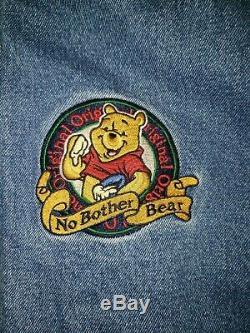 Rare DISNEY Winnie The Pooh No Bother Bear Denim Jacket XXXTentacion Small Hood