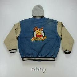 Rare VTG DISNEY Winnie The Pooh No Bother Bear Jean Jacket 90s XXXTentacion SZ L