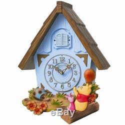 SEIKO CLOCK Disney Time Winnie the Pooh house wall clock blue FW573L #Fastshipp