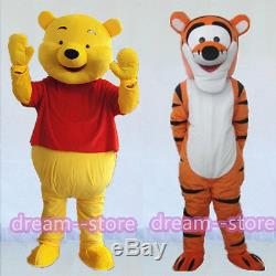 Sale Winnie The Pooh And Tigger Mascot Costume Adult Size Halloween Dress