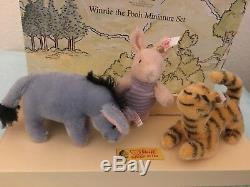 Steiff Winnie the Pooh Classic Mohair Piglet Tigger & Eeyore 2002 MIB 1001/5000