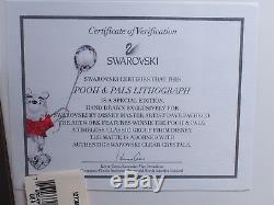 Swarovski 7-Pc Winnie the Pooh, Tigger, Eeyore, Piglet, Honey Jar, Litho, Stand