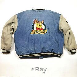 The DISNEY STORE WINNIE THE POOH Denim Varsity Jacket Coat Embroidered size XL