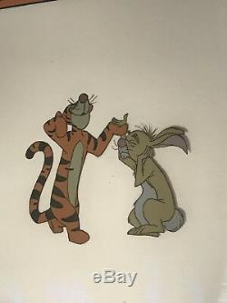 Tigger & Rabbit Winnie The Pooh Animation Cell Walt Disney Orig Hand Painted Cel