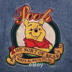 VTG Disney Store Winnie The Pooh Varsity Jean Denim Jacket Coat Hoodie 90s SZ M