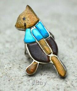 VTG Old Pawn Zuni Native American Silver Turquoise Inlay Winnie The Pooh Ring