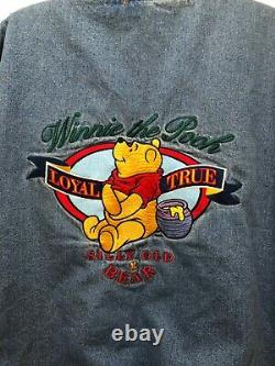 VTG Winnie The Pooh Disney Store Denim Quilted Varsity Jean Jacket Size XXL