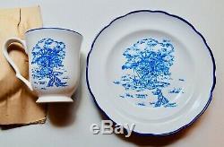 Very Rare Winnie the Pooh Blue 100 Acre Wood Stoneware 16 piece Dinnerware Set