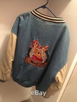 Vintage Disney Store Rare Winnie The Pooh Varsity Denim Jacket Size Mens XXL