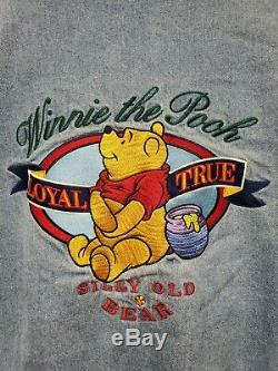 Vintage Disney Store Winnie The Pooh Denim Varsity Jacket Embroidered Size M/L