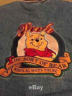 Vintage Disney Store Winnie The Pooh Varsity Jacket Bomber Denim No Hood Size S
