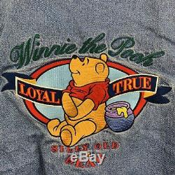 Vintage Disney Store Winnie The Pooh Varsity Jacket Bomber Denim No Hood Small