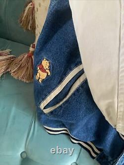 Vintage Disney Store Winnie The Pooh Varsity Jean Denim Jacket XXL HOODY BOMBER