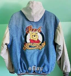Vintage Disney Store Winnie the Pooh Denim Varsity Jacket with Hood Adult Size M
