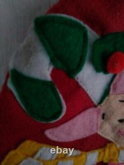 Vintage Disney WINNIE THE POOH Felt Christmas Stocking Applique 3D 22 Large