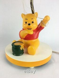 Vintage Disney WINNIE THE POOH Lamp With Honey Pot Music Box and Balloon Shade