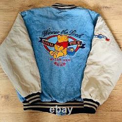 Vintage Disney Winnie The Pooh Varsity Denim Jacket Embroidered