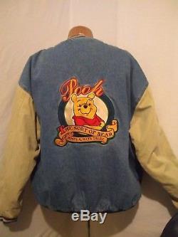 Vintage Disney Winnie the Pooh Jean Varsity Jacket Disney Store Size XL HIP HOP