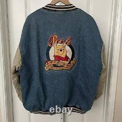 Vintage OG Disney Store Winnie the Pooh No Bother Bear Jean Varsity Jacket Sz XL