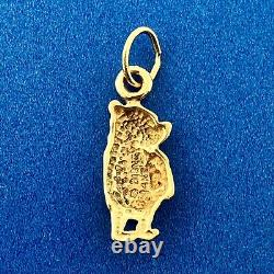 Vintage Official Disney 14k Yellow Gold Winnie the Pooh Bear Collectible Pendant