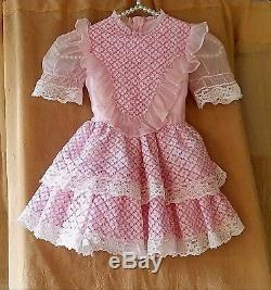 3e192490c3 Vintage Perma-prest Winnie The Pooh Sears Roebuck Girls Dress Pink Lace  Ruffles