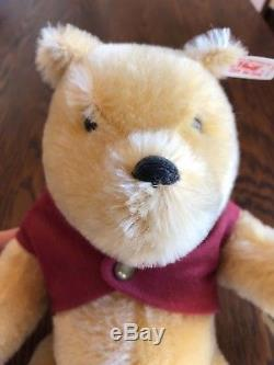 Vintage Steiff Collectible Classic Winnie the Pooh Bear withoriginal stand Retired