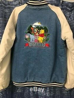 Vintage The Disney Store Winnie The Pooh Denim Jacket Varsity Size XL