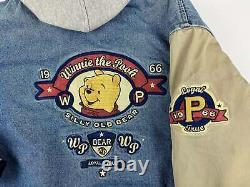 Vintage Winnie the Pooh Varsity Denim Jacket Jean Disney 90s Hooded R4