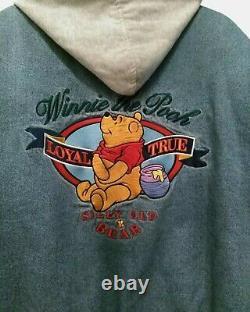 Vtg Winnie the Pooh Disney Store Denim Quilted Varsity Jean Jacket Hood XL 2X 1X
