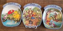 Winnie The Pooh Perpetual Calender BRADFORD EXCHANGE 12 Plates All Tiles 1998