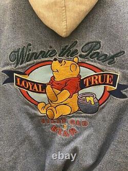 Winnie The Pooh Vtg Disney Denim Hooded Varsity Jacket, Petite Small, Worn Once