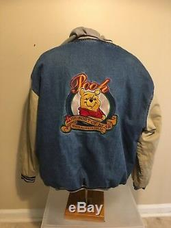 Winnie The Pooh denim varsity Jacket size XL XXXTENTACION Disney