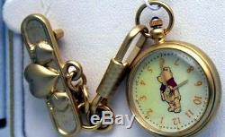 Winnie the Pooh Watch Disney Krementz Womens Pin Colibri Lapel Pendant Watch