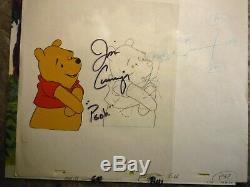 Winnie the Pooh original production disney cel Signed Jim Cummings COA drawing