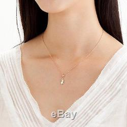 Winnie the Pooh silver 925 pink gold coated Cubic zirconia pendant necklace