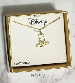 10kt Yellow Gold Winnie The Pooh Disney Pendentif Kids Necklace, 18 Chain Withbox