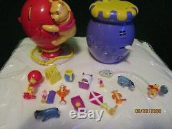 3 Lot Vintage Winnie L'ourson 100 Acre Wood, Honey Pot, Big Red Balloon Playsets