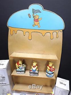 7 Boîtes À Bijoux Disney Winnie L'ourson En Porcelaine Avec Support En Bois