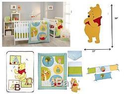 7pc Disney Winnie L'ourson Unisexe Lit De Literie Ensemble Mur Art Couverture Pare-chocs