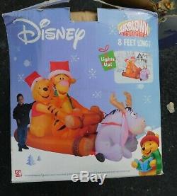 8 Ft Gemmy De Noël Gonflable Disney Winnie L'ourson Tigrou Bourriquet Connexion Sled