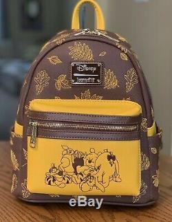 Authentique Loungefly Disney Winnie L'ourson Mini Sac À Dos Et Titulaire De La Carte