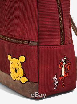 Brand New Disney X Loungefly Winnie L'ourson Corduroy Mini Sac À Dos