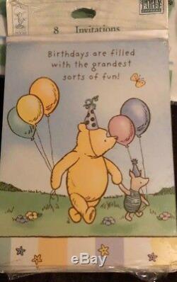 Classique Winnie L'ourson Fête D'anniversaire Assiettes Sacs Invitations Serviettes