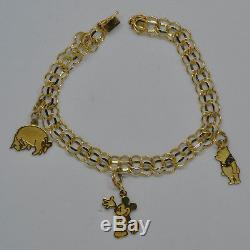 Disney Charm Bracelet Mickey Mouse Winnie L'ourson 14k Or Jaune 7.9 G 3 Breloques