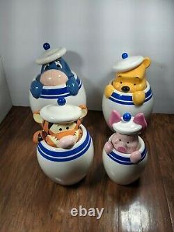 Disney Direct Winnie Le Pooh Piglet Tigger Eeyore Peek Cookie Jar Set