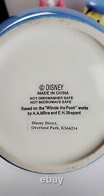Disney Direct Winnie The Pooh Peek Cookie Jar Set - Set Bleu Très Rare