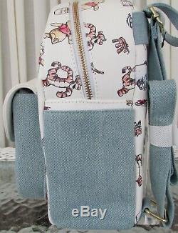 Disney Loungefly Classique Winnie L'ourson Mini Sac À Dos Denim Imprimer Nwt