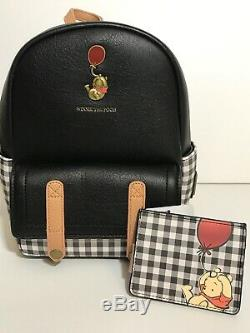 Disney Loungefly Classique Winnie L'ourson Noir Plaid Mini Sac À Dos Et Titulaire De La Carte