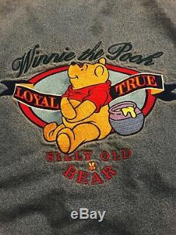 Disney Rare Vintage Winnie The Pooh Jean Veste En Jean Moyen M Varsity Années 90