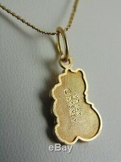 Disney Solid 14k Or Jaune Winnie L'ourson Ours Charm Pendentif Italie Collier